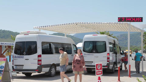 Oludeniz Beach Bus Stop stock footage