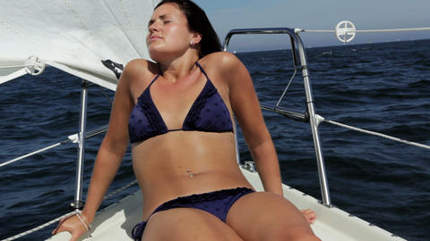 Girl On Sailboat stock footage