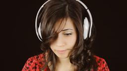 Music Woman Headphones Black Fake Sadness Laugh stock footage