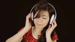 Music woman headphones black turn on music GIF