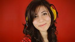 Music woman red headphones caress kiss seduce Footage