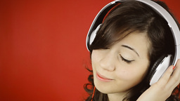Music Woman Red Headphones Floating Copyspace stock footage