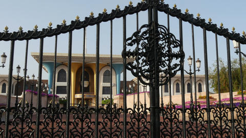 Pan Over Gate At Al Alam Palace In Muscat Oman stock footage