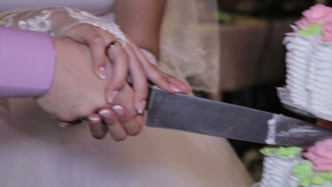 Bride And Groom At Wedding Reception Cutting The Wedding Cake stock footage