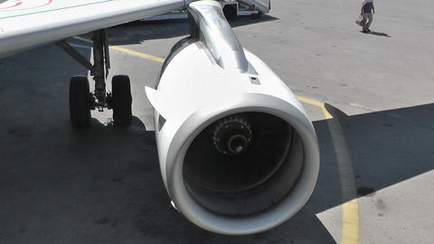 airplane turbine engine after landing (2 different views) Footage