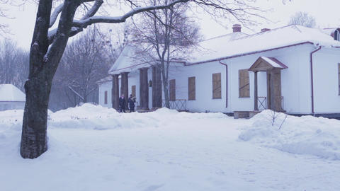 old mansion in the Ukrainian style 19th century against the background of the wi Footage