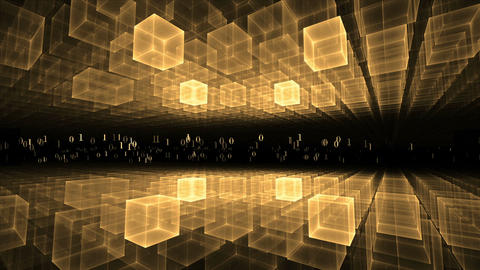 Data Flow, Golden Geometrical Horizon, Communication Concept Animation