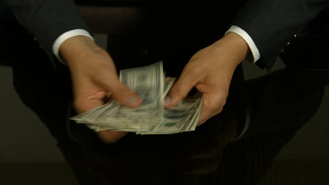 Businessman Counting Money stock footage