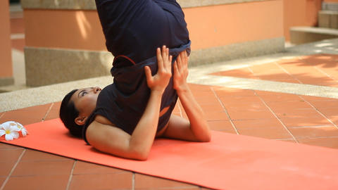 Young asian woman doing yoga Footage