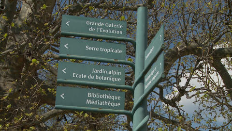 multiple signs Jardin Alpin, Biblotheque- Paris Footage