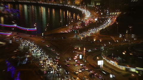 Traffic in city at night Footage
