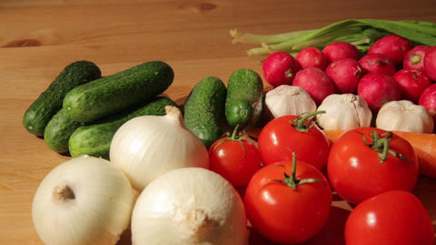 Various vegetables on wood Footage