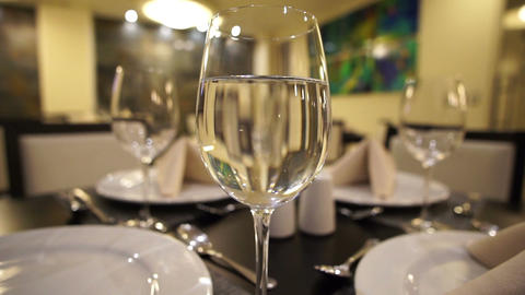 Glass Of Water Restaurant Dolly stock footage