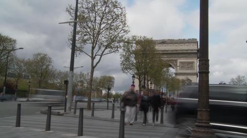 Paris- Arc De Triomphe Prominent Architecture Time Lapse People Passing stock footage