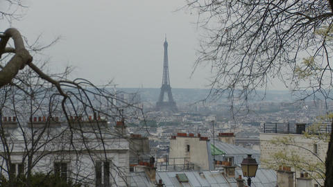 View Of Eiffel Tower From Montmartre In Paris France stock footage