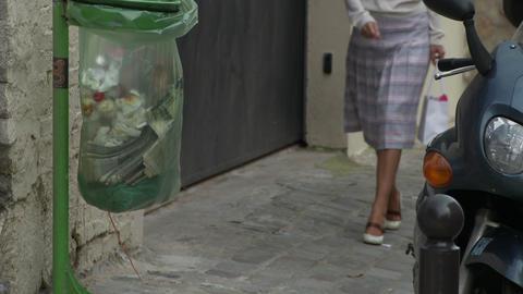 Beautiful Woman Walks On Stone Street In Paris stock footage