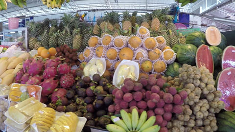 Traditional Farmer's Market Fruit Stand in Thailand Footage