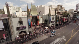 Flying Over Hollywood Boulevard And Chinese Theater stock footage