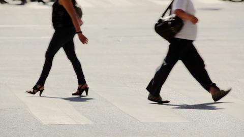 Cross Walk. Pedestrians stock footage