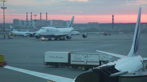 The landed plane goes to the parking at the international airport Vnukovo Footage