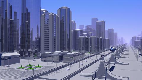 Futuristic City Monorail Scene Animation