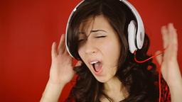Music woman red headphones stylish dance Footage