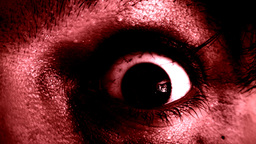 Old man zombie eye macro scary red Footage