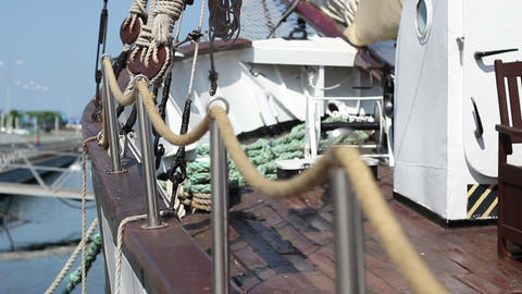 Rope Railing On Yacht stock footage