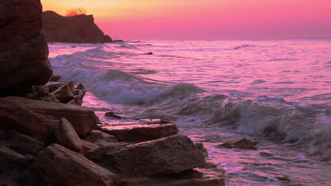 Pink Sunrise Over The Sea stock footage