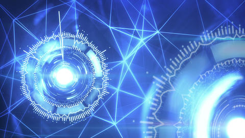 futuristic loopable background with rotating circular elements 4k (4096x2304) Animation