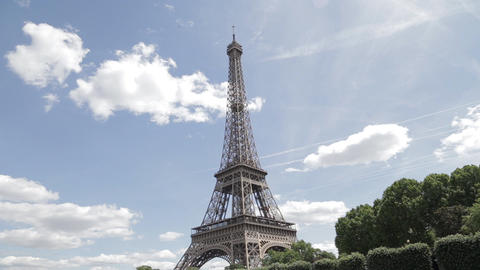 Eiffel Tower and the Seine river The iconic Eiffel tower Footage