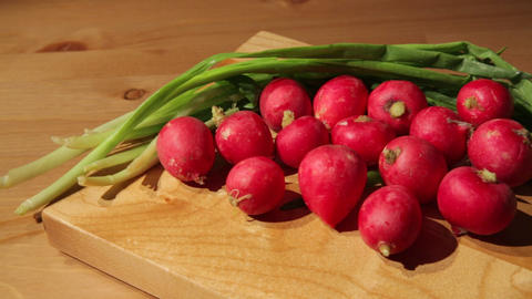 Onion Leaves And Radish stock footage