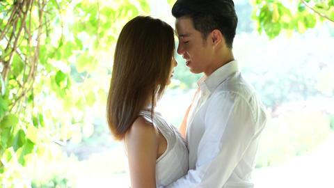 Asian Couple Close Hugs stock footage