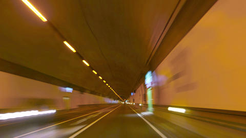 Highway Tunnel Rage Camera Car At High Speed 4k stock footage