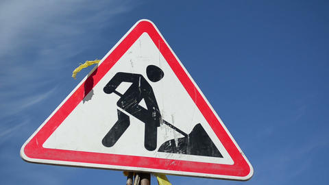 Warning Sign Going Work On A Construction Site stock footage
