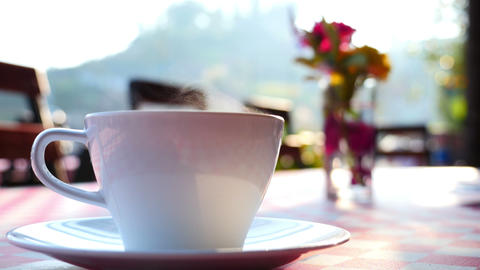 4K Ultra HD : Coffee Up With Steam On The Table stock footage