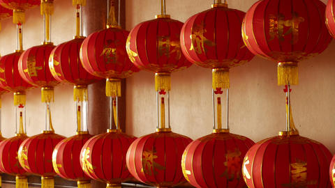 4K Video : Chinese paper lanterns in the temple on… Stock Video Footage