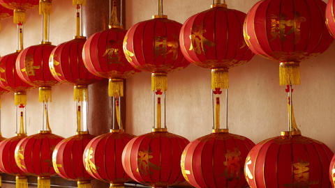 4K Video : Chinese paper lanterns in the temple on Chinese new year celebration Footage