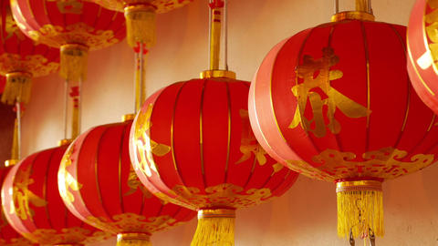 4K Video : Chinese paper lanterns behind the door on Chinese new year celebratio Live Action