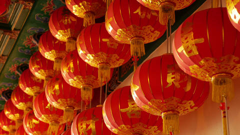 4K Video : Chinese paper lanterns in the temple for Chinese new year celebration Footage