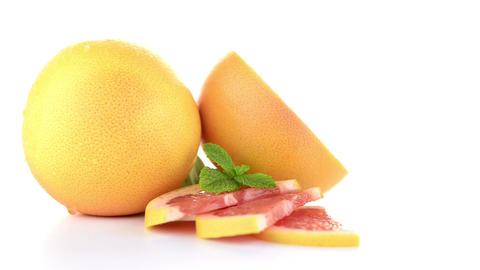 Ripe cut red grapefruit Footage