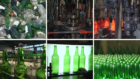 Collage of glass bottle recycling and production in factory Footage