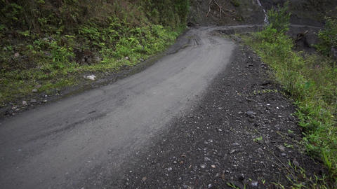 Driving Danger Dirt Road Mudslide Footage