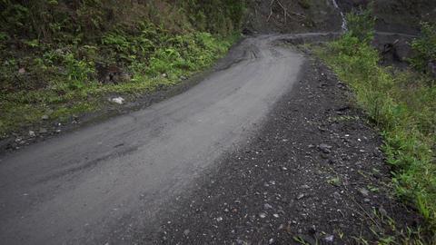 Driving Danger Dirt Road Mudslide stock footage