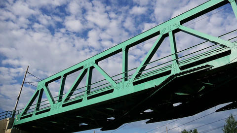 Iron Railway Bridge And Sky stock footage