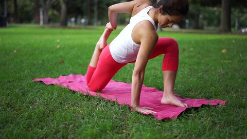 Woman doing yoga Footage