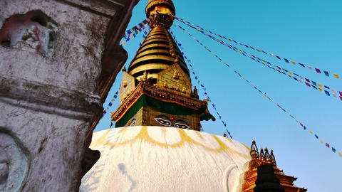 4K video of The Swayambhunath Stupa with blue sky in Kathmandu, Nepal Footage
