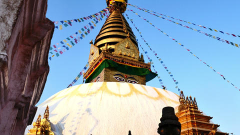 4K video of The Swayambhunath Stupa with blue sky in Kathmandu, Nepal, Tilt up s Footage