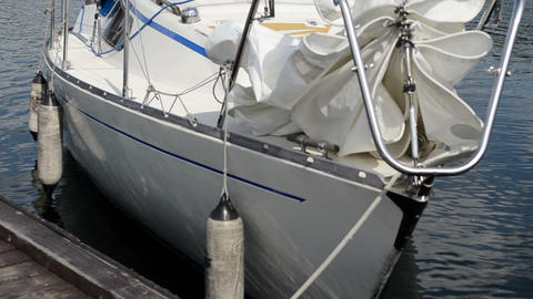Closeup Of Yacht Boat Water Move In Wind Near Dock Pier stock footage