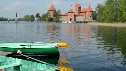 trakai castle yacht sail and boat rent place on galve lake Footage